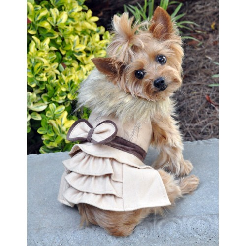 Camel Wool Classic Dog Coat Harness and Fur Collar with Matching Leash