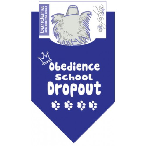 Dog Bandana Obedience School Dropout Blue by Dog Fashion Living (2 pack)